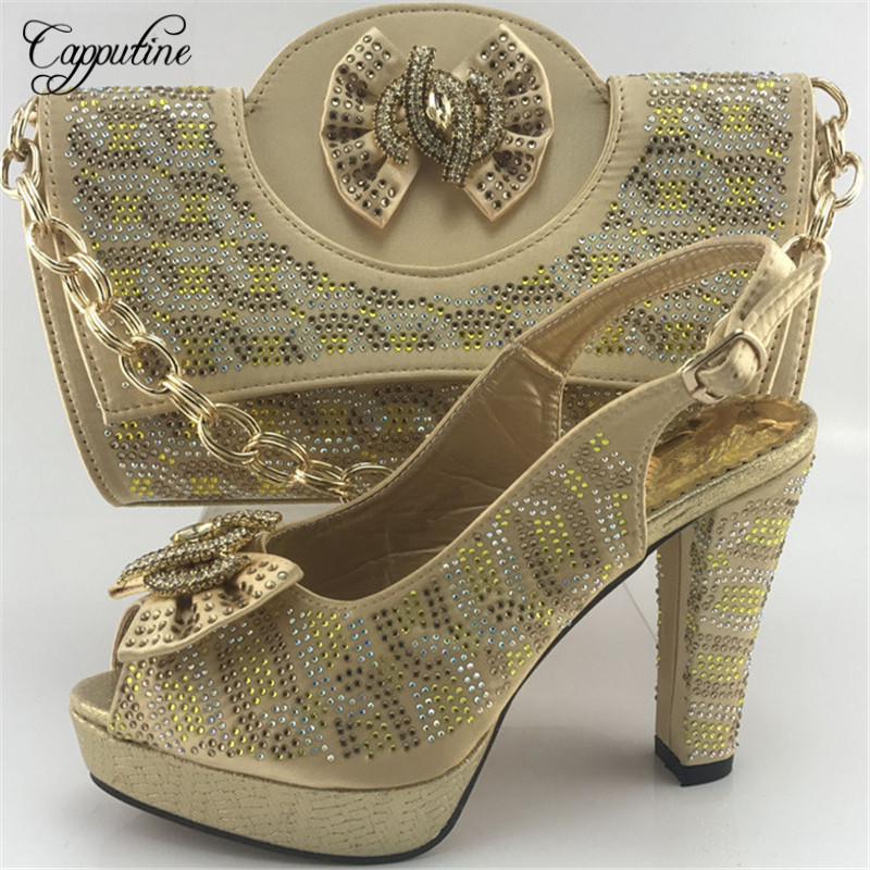 Capputine Gold Color New Design Shoes With Matching Bag Set For Wedding Party African Women Fashion Shoes And Bag Set ME7715 african fashion shoes with matching bag set for wedding party italian design nigeria women pumps shoes and bags mm1060