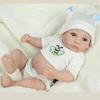 1 Pcs 10 Inches Full Vinyl Doll White Skin Reborn Boy Baby Realistic Baby Doll Bonecas