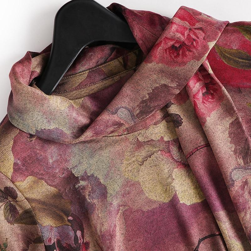 aa4ecec4a084c4 Lente herfst vrouw jurk met sjaal beige roze patroon print jurk over knie  kalf lengte fashion vintage losse jurk in Lente herfst vrouw jurk met sjaal  beige ...