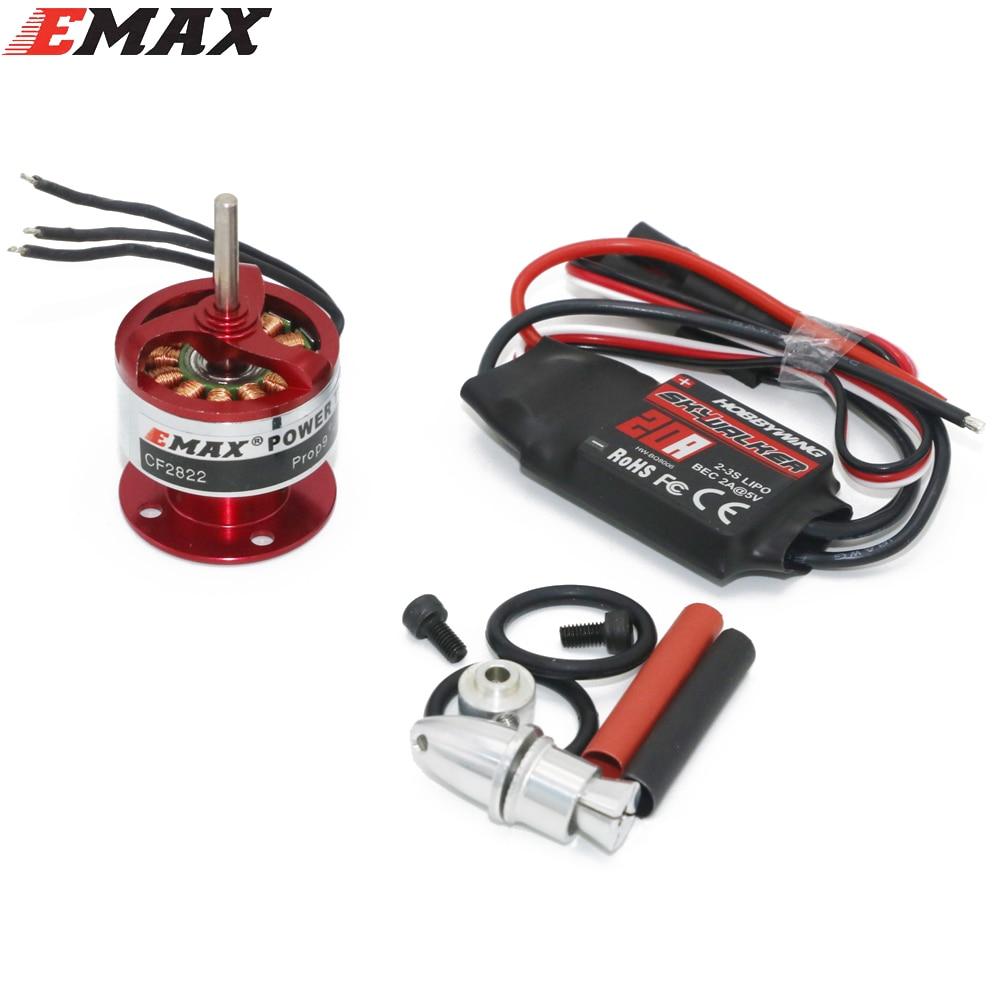 Emax CF2822 1200KV outrunner brushless motor + hobbywing 20A brushless ESC + 3.17mm Bullet hélice adaptador Dropship