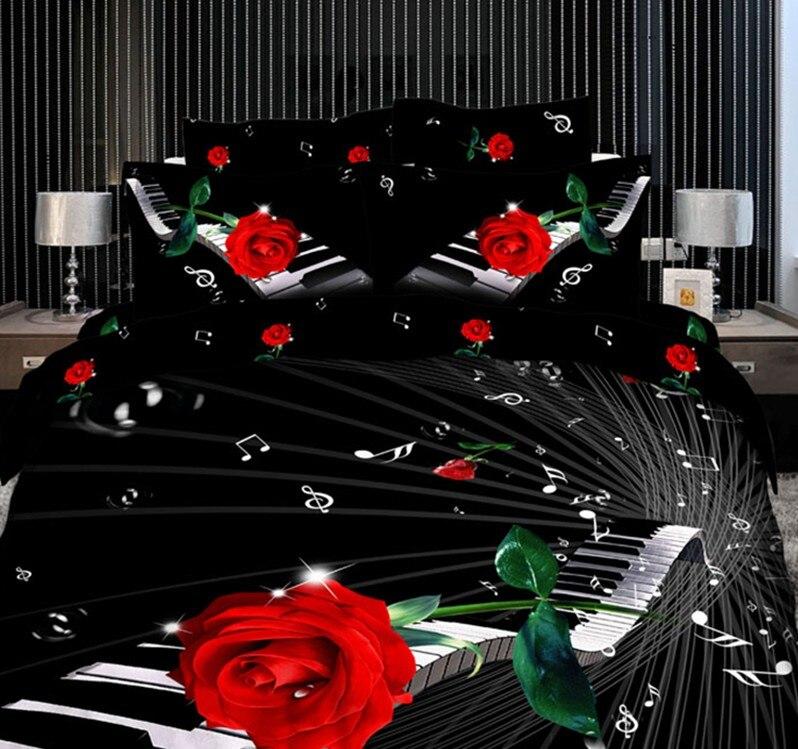 3d musique note literie ensemble noir et rouge rose housse de couette couvre lit en - Set De Chambre King Noir