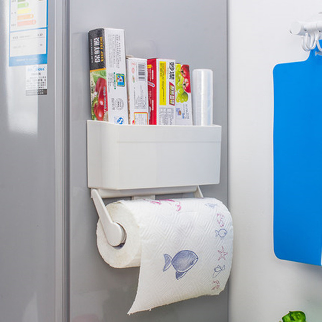 2 in 1 magnetic toilet paper holder storage box plastic wrap roll holder wall shelf