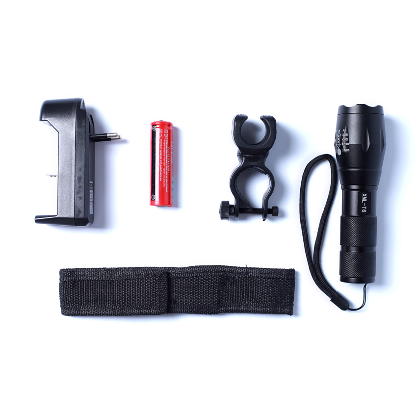 E17 CREE XM-L T6 2000 LM High Power Torch Zoomable LED Flashlight Torch Light +18650 Battery + Charger+Bicycle Rack+Cloth Cover