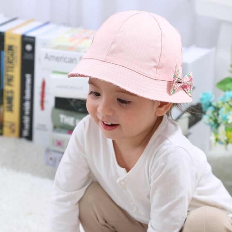 bac6ce0d Bnaturalwell Baby girls Pink Sun Hat Summer Cotton Bucket Hat Toddler &  Children Brim Beach Hat With Bow Reversible H019