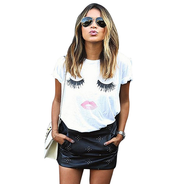 f2eac9c8d Mujeres con encanto Moda para Mujer Top ojo garabato cara Camiseta  expresión femenina corto lindo suelta