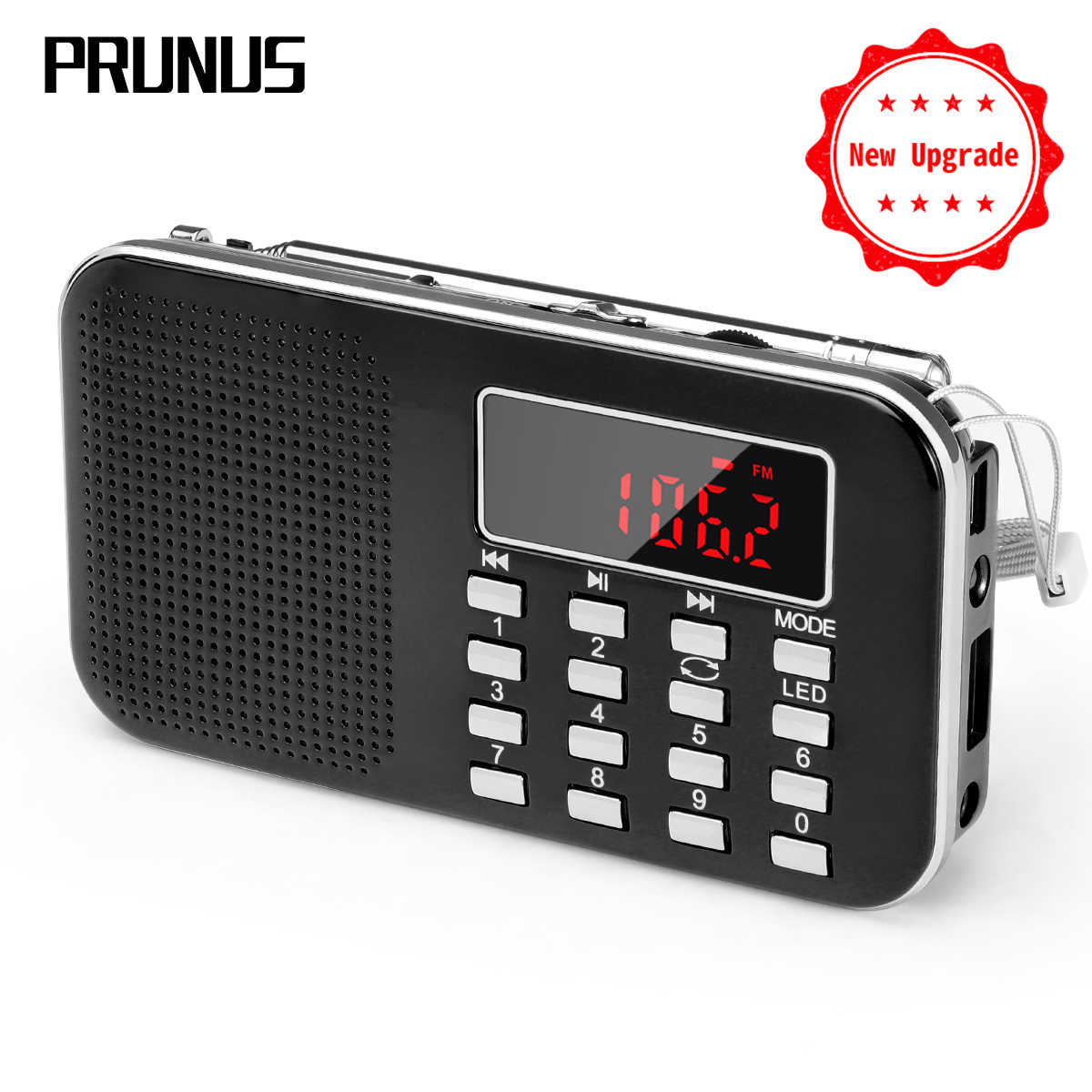 PRUNUS L-218 Mini receptor de radio fm AM/FM/SD tarjeta MP3 play altavoz USB/AUX radio portátil de emergencia con luz Led/antena