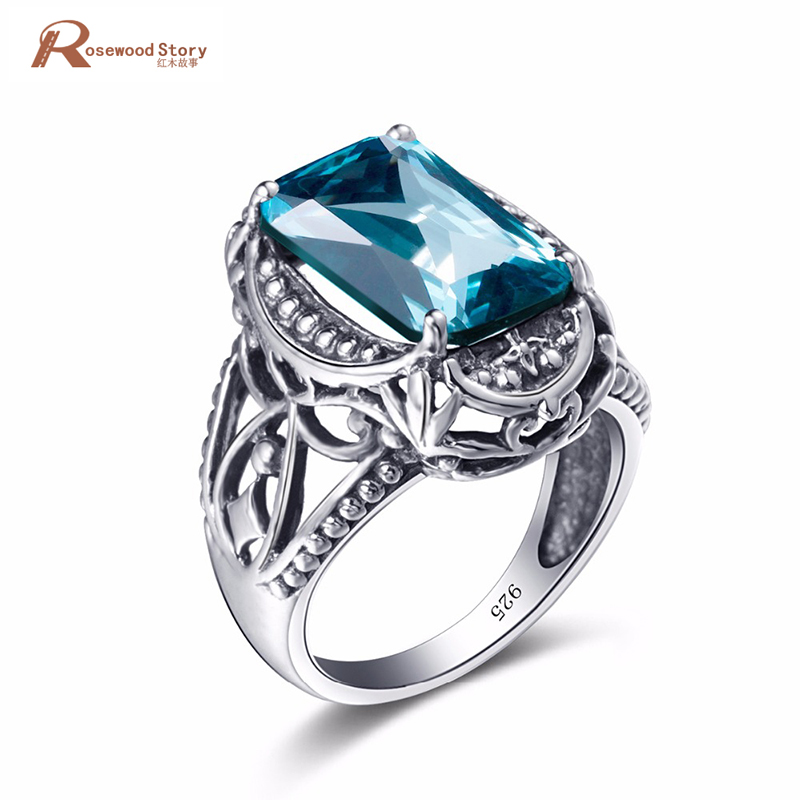 Fashion Womens Vintage Luxury Big Ring Soild 925 Sterling Silver Created Aquamarine Crystal Birthstone Ring For Women Party