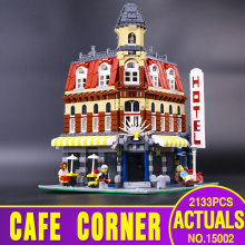2016 New 2133Pcs LEPIN 15002 Creators Cafe Corner Model Building Kits Minifigure Blocks Kid Toy Gift brinquedos