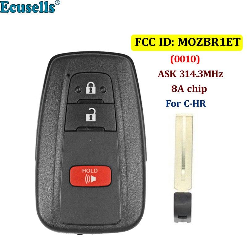 2 + 1/3 bouton ASK 314.3 MHz smart télécommande porte-clés avec puce 8A FCC ID: combinaison de BRIET-0010-US pour Toyota C-HR 2018 2019 MOZBR1ET