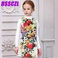 3-14 лет 2017 новых девушки одеваются дети ребенок весна и лето печати рукавов высокого качества платье девушки одежда длиной до колен цветочные