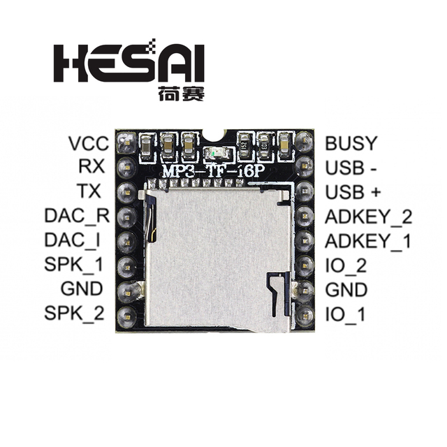 2020!DFPlayer Mini odtwarzacz MP3 moduł MP3 dekodowania głosu wsparcie karty TF u disk IO/Port szeregowy/AD dla arduino Diy Kit