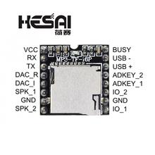 DFPlayer Mini odtwarzacz MP3 moduł MP3 dekodowanie głosu obsługa karty TF u-disk IO Port szeregowy AD dla arduino Diy Kit tanie tanio HESAI Nowy Regulator napięcia MP3 Module Mp3 mp4 -40-+85C