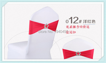 15 x 35CM 100PCS New Red Lycra Spandex Chair Back Supplies Wedding Party Sash Band with Crown Buckle Decor фото