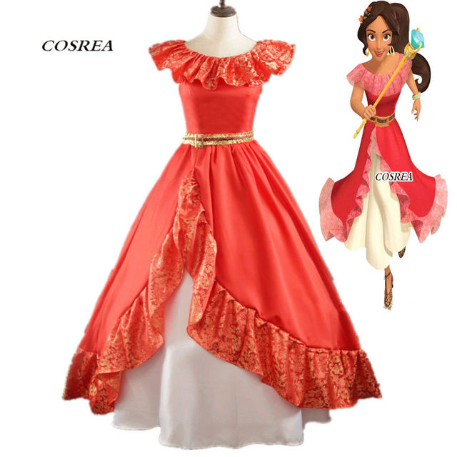 4be98225aaac COSREA Elena Princess Cosplay Costume Red Long Fancy Lace Dress With Belt  Costume Halloween Party For Woman