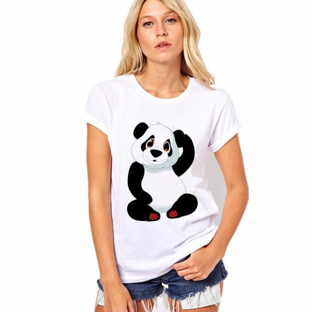 2017 Hot Selling Fashion Round Collar Women T Shirt  Print Finger Adorable Panda T-Shirt Women Summer Clothes Casual