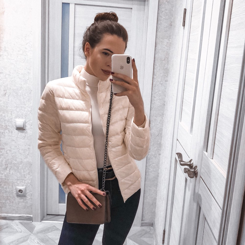 2018 Winter   Down     Coat   Women Warm Chic Parkas Solid Stand 90% White Duck Long Sleeve Jackets Light Slim Autumn High Quality