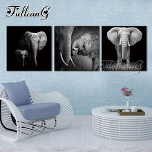 FULLCANG triptych animals diamond painting african elephant 3 pieces mosaic cross stitch diy 5d embroidery full drill G1307