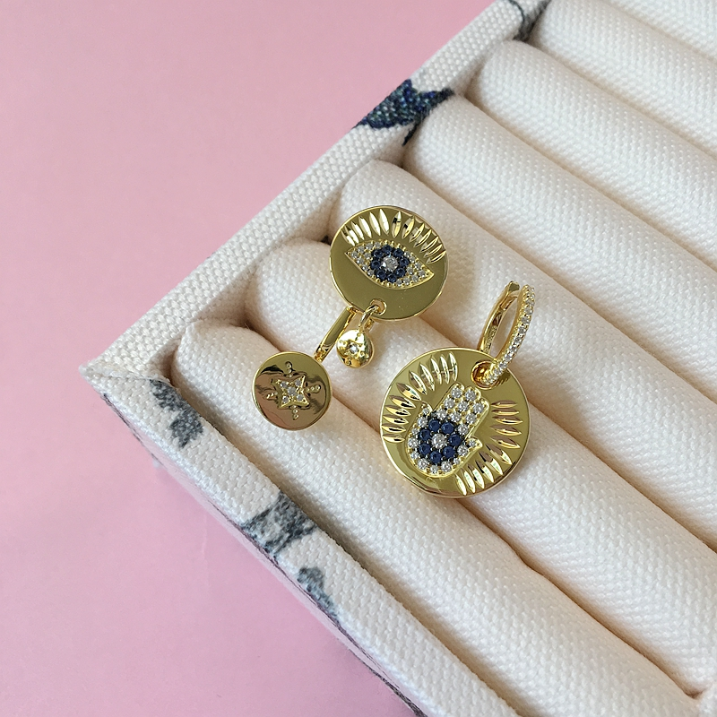 SLJELY Top Quality 925 Sterling Silver Yellow Gold Color Asymmetric Lucky Eye Earrings Micro Zirconia Stones