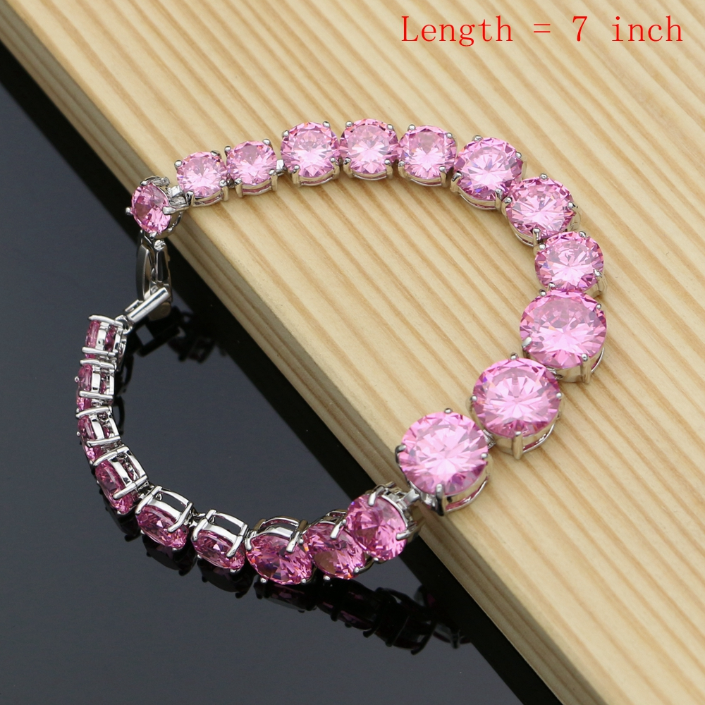 Image 5 - Silver 925 Jewelry Big Pink Cubic Zirconia Costume Jewelry Sets For Women Earrings With Stones Ring Necklace Set DropshippingBridal Jewelry Sets   -