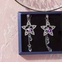 Korean Handmade Silver Needles Anti-allergy Star Tassel Rhinestone Drop Earrings Dangle Earrings Fashion Jewelry-BYD5 все цены
