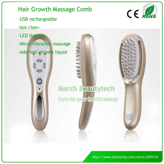 Hair Loss Treatment Chargeable Hair Care Vibration Massage LED therapy Laser Electric Hair Growth Comb Brush laser hair growth comb 6 color led light micro current for hair massage remove scurf n repair hair hair loss
