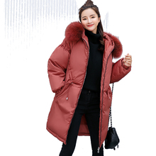2018 New Fashion Winter Jacket Women Fur Collar Hooded Warm Thicken Long Female Loose Parka Parkas Coat Cotton Padded Outwear стоимость