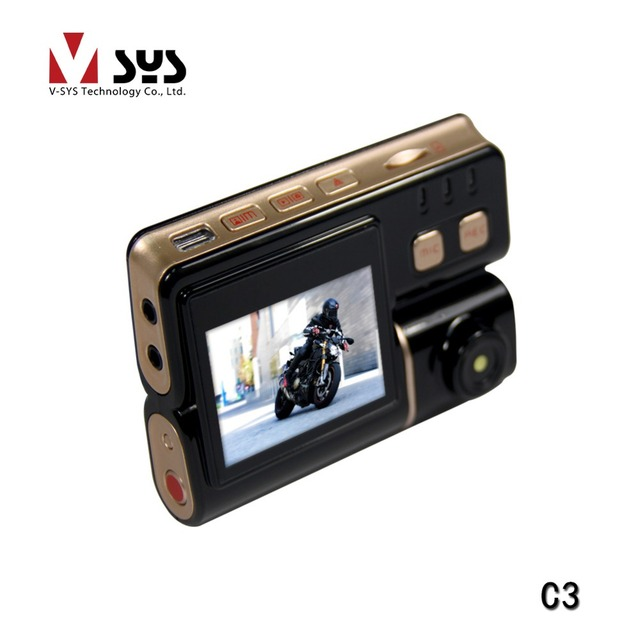 China Vsys C3 Motorcycle action camera with two waterproof lens car black box bike DVR