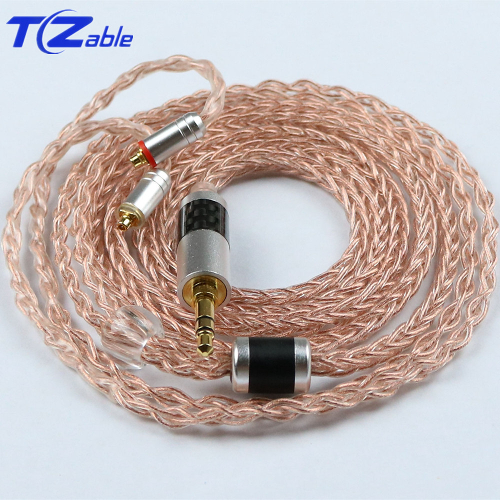 3.5mm Headphone Upgrade Cable Crystal Copper Cable DIY Headphones Jack Audio Cable For MMCX se215 se315 se535 se846 Headset Hifi