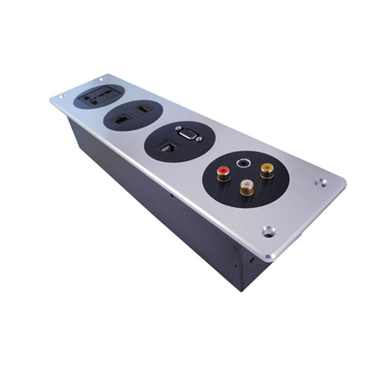 Prise murale intégrée avec alimentation standard nationale, deux réseaux, VGA, HDMI, 3.5 Audio, groupe AV