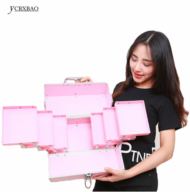 Hot High Quality Multilayer Professional Makeup Organizer Bolso Mujer Cosmetic Case Travel Large Capacity Storage Bag Suitcases