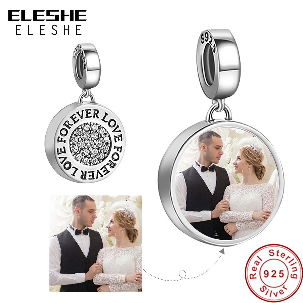Personalized Custom Photo 925 Sterling Silver Round Charms Beads Fit Pandora Bracelet Necklace Pendant Original DIY Jewelry