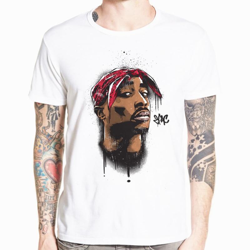 Hecoolba 2017 hombres impresión tupac 2pac camiseta manga corta O-cuello camiseta blanca Hip Hop Swag harajuku Streetwear camiseta HCP287