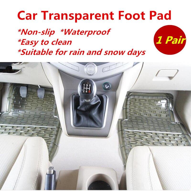 2 Pcs Car 3 D Transparent Foot Mat Pad Thick Non slip PVC Soft Rubber Waterproof Driver Stepping Mat Rain And Snow Days Apply