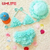 UMLIFE Cute Bikini Set Kids Swimwear Girls Two Pieces Baby Child Swimsuit Biquini 2017 Ruffled Children
