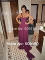 elegant high quality purple one shoulder floor length custom made short celebrity dress design JO058 kim kardashian dress