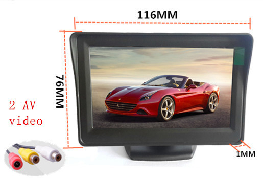 4.3-inch color TFT LCD monitor display Car parking rearview backup 4.3'' video PAL/NTSC Car Rear View Camera Reverse