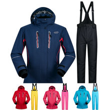 Women Ski Suit Winter Ski Jacket And Pants High-quality Windproof Waterproof Breathable Thermal Skiing Snowboarding Suits Brands 2018 new lover men and women windproof waterproof thermal male snow pants sets skiing and snowboarding ski suit men jackets