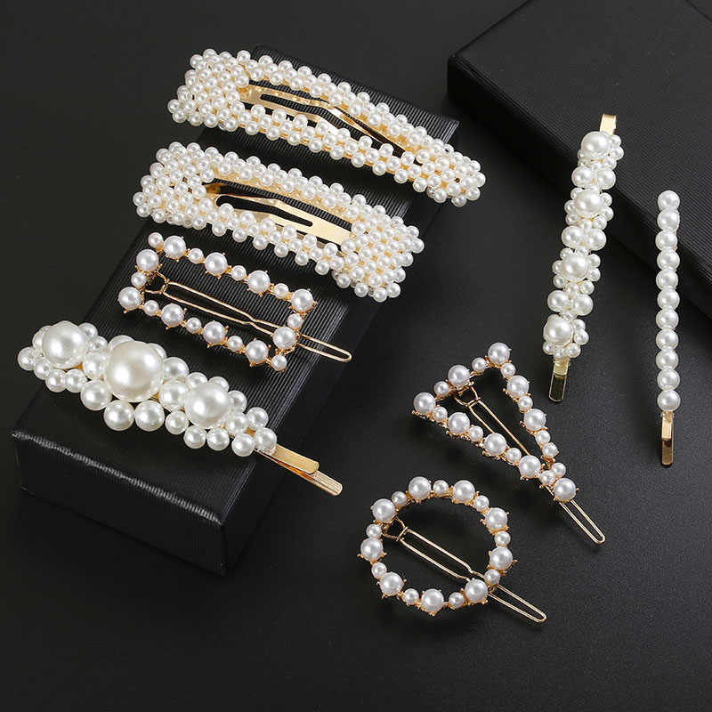 Fashion handmade Gold Color Pearl Imitation Hair Clip Snap Barrette Stick Hairpin Hair Styling Accessories For Women Girls
