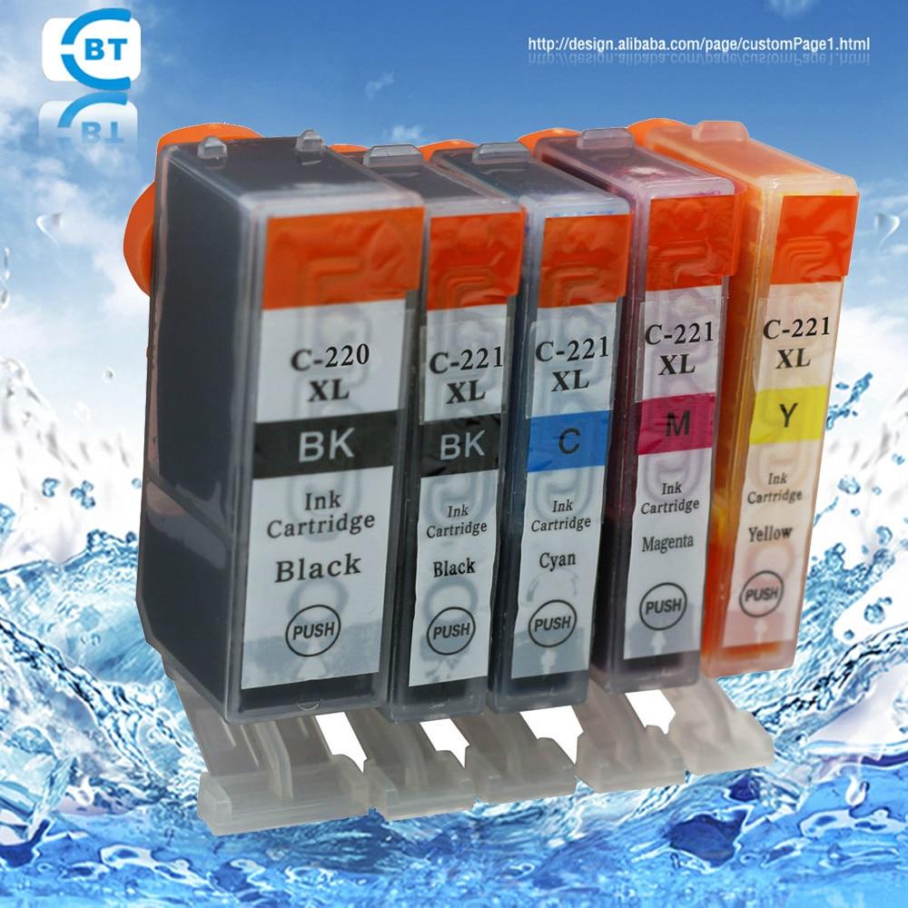 5pcs Compatible Canon Pgi 220bk Cli 221 Ink Cartridge For Ip3600 29 Cyan Ip4600 Mp540 Mp620 Mp630 Mp980 Printer