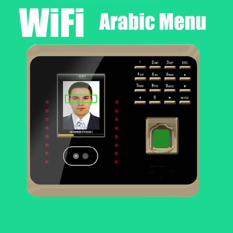 Arabic Menu WiFi UF100Plus Tcp/ip+Wifi Biometric Face Time Recording Attendance System with Free Software