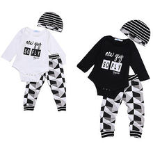 Baby boy girl autumn clothes for newborns 3pcs Romper hat pants suit Cartoon letter print designs baby clothing Set