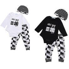 Baby boy girl autumn clothes for newborns 3pcs Romper hat pants suit Cartoon letter print designs baby clothing Set