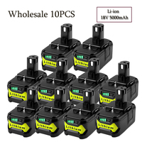 Wholesale10PCS 18V 5000mAh Li Ion Battery For Ryobi Hot P108 RB18L40 Rechargeable Battery Pack Power Tool Battery For Ryobi ONE+