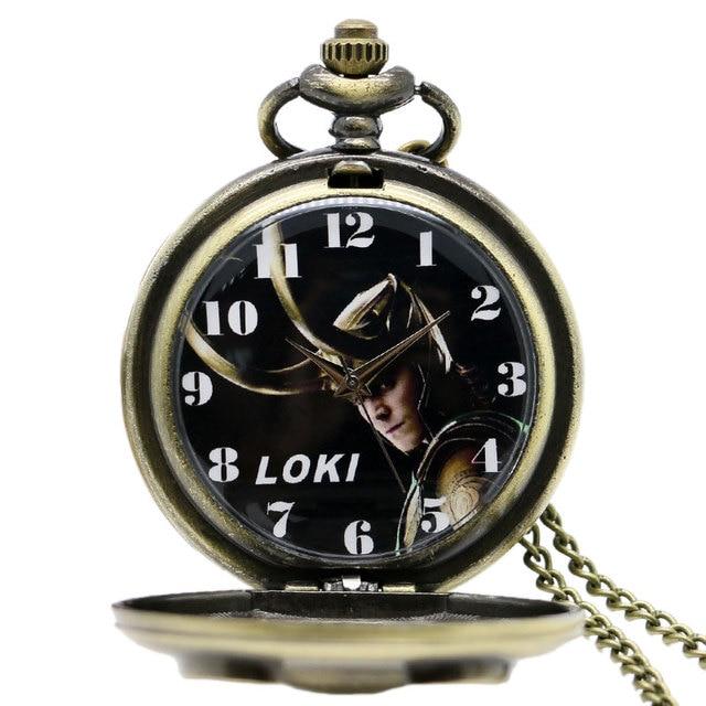Sweater Chain Pocket Fob WatchNew Loki Thor retro flip pocket watch necklace chain Gift for men