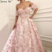Pembe kısa kollu kapalı omuz abiye el yapımı çiçekler seksi A Line resmi elbise 2020 Serene tepe LA60967