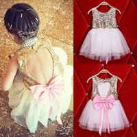 3-10y crianças vestido da menina do bebê roupas lantejoulas vestido de festa mini bola formal amor sem costas princesa arco vestido sem costas menina