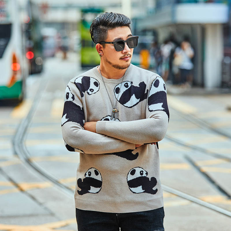 2018 New Large Size Men's Pullover Top Autumn And Winter Casual Loose Animal Print Sweater More Size XXL-5XL 6XL 7XL