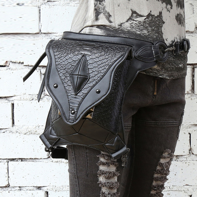 Top Quality PU Leather Leg Drop Bag Fanny Pack PU Leather Gothic Punk Rock Motorcycle Rider Female Messenger Shoulder Waist Bags