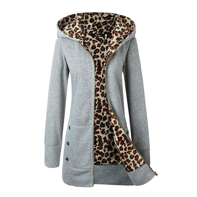 2018 Popular Leopard Lined Slim Long Fleece Basic Jacket Women Basic Coats Winter Warm W ...