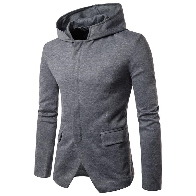 Hauts 2017 décontracté à capuche costumes personnalité mode hommes caché Zipper placket costume automne porter mince manteau vêtements taille S-XXL
